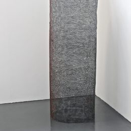 One, Many - 2014 - Crocheted and heat-manipulated polypropylene yarn, concrete powder pigment 147x60x60cm