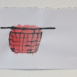 Pink Basket - 2014 - ink and acrylic on paper