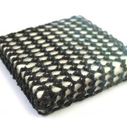 Concrete powder pigment on polypropylene yarn on stone tile 10x10x2cm