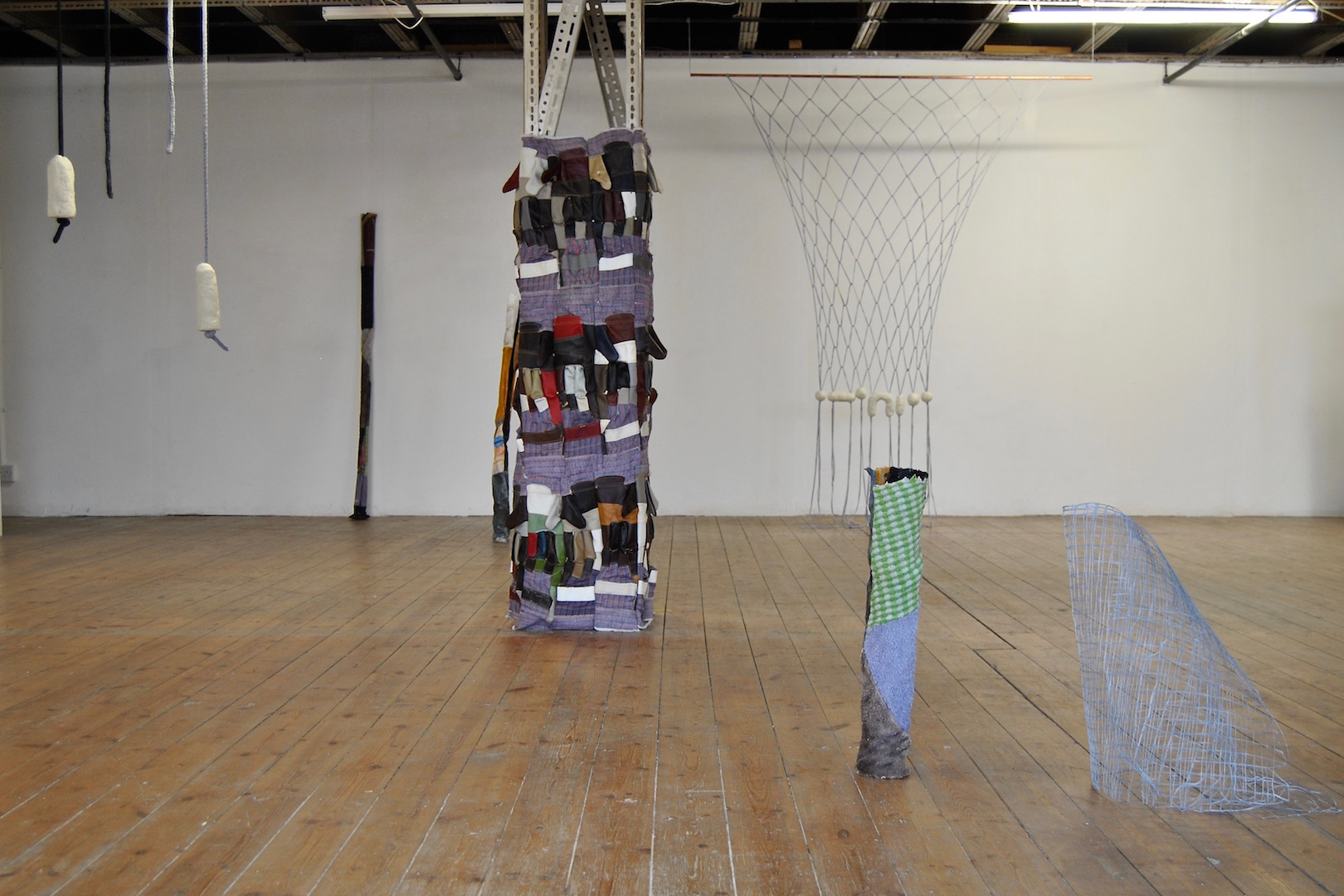 Installation view (L-R) - Soap On A Rope (LB); Soap Tube No.2 & No.4 (SG); Rigger Gloves (SG); Untitled (LB); Rag Tube No.3 (SG); Grid (LB)