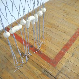 Untitled (2016) (detail) - jersey yarn, soap, copper pipe