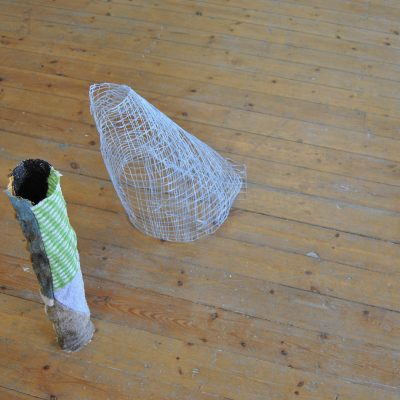 Grid (2016) - heat-manipulated woven synthetic yarn (pictured with Rag Tube No.3 (2016) Rags, thread, wax - Sophie Giller