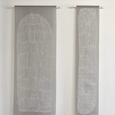 Untitled (Soap Drawings) - soap on window blind offcuts, 68x176cm and 37x176cm