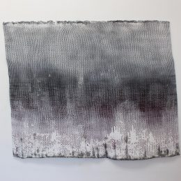 Black Clouds Never Leave Us Alone (2016) knitted heat-manipulated synthetic yarn, ink, acrylic, emulsion, spray paint, car paint 100x70cm