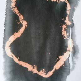 Day 18 - fabric dye, bleach on paper 28x40cm
