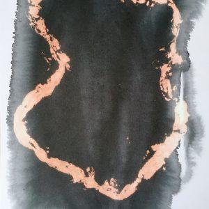 Day 18 - fabric dye, bleach on paper 28x40cm