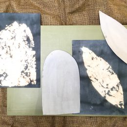 Sketchbook - fabric dye & bleach on paper, cutting board, hessian