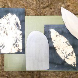 Sketchbook - fabric dye & bleach on paper, cutting board, hessian