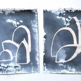 Sketchbook - fabric dye & bleach on paper 2 x A4