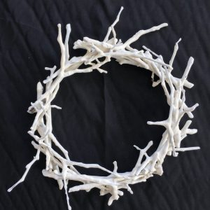 Nest/Crown of Thorns(?)  (2019) - twigs, plaster - dia. 25cm