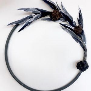 Wreath II - plastic, paper, wire, plaster, fabric dye - dia 50cm