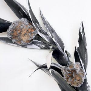 Wreath II (detail) - plastic, paper, wire, plaster, fabric dye