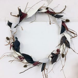 Wreath I - steel, leather, grass, teazel, twigs, plaster, dye, string - dia. 85cm