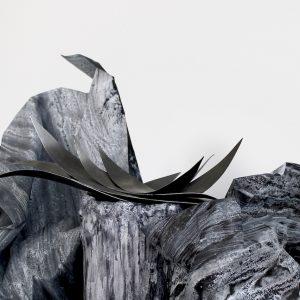 Liquid Night Cinematic Still (detail) - fabric dye on paper, mild steel, plaster